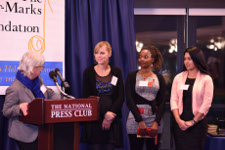 Honoring the Kate Mullany Courageous Young Worker Award Winners. From left: Yvette Herrera (Berger-Marks Trustee), Ellen Brackeen, Donyetta Hill, Yesica Mendez.