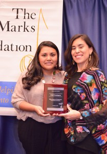 Neidi Dominguez, 2015 Edna Winner of Distinction, with Trustee Gladys Cisneros