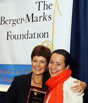 """""""She never forgot where she came from... """"At 27, she scolded Lou Dobbs on national television for referring to Latino immigrants as 'illegal aliens.'  She pointed out to him and his national audience that they hadn't committed any crimes and told him, 'We're very much from this earth'.""""  – Linda Foley, Berger-Marks President, presenting Edna Award to Archila"""