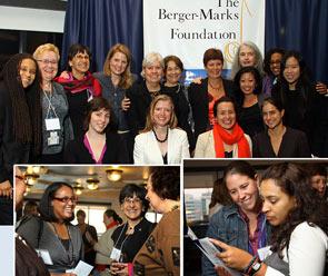 Standing behind the award-winners in top row (l. to r.) are: Kevin Burton (trustee), Carol Rothman (award judge, Sec-Treas., The Newspaper Guild CWA), Carolyn Jacobson (sec.-treas.), Liz Shuler (judge, Sec-Treas., AFL-CIO), Yvette Herrera (trustee), Terry O'Neill (judge, president NOW), Linda Foley (president), Louise Walsh (chairwoman), Nicole R. Lee (finalist), Elizabeth Wilkins (finalist), Hye Jin Rho (finalist).